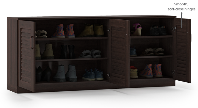 Bennis Shoe Cabinet (Dark Walnut Finish, 18 Pair Capacity) by Urban Ladder