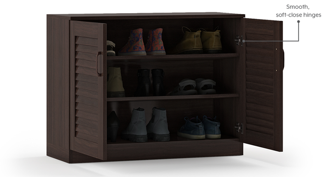 Bennis Shoe Cabinet (Dark Walnut Finish, 12 Pair Capacity) by Urban Ladder