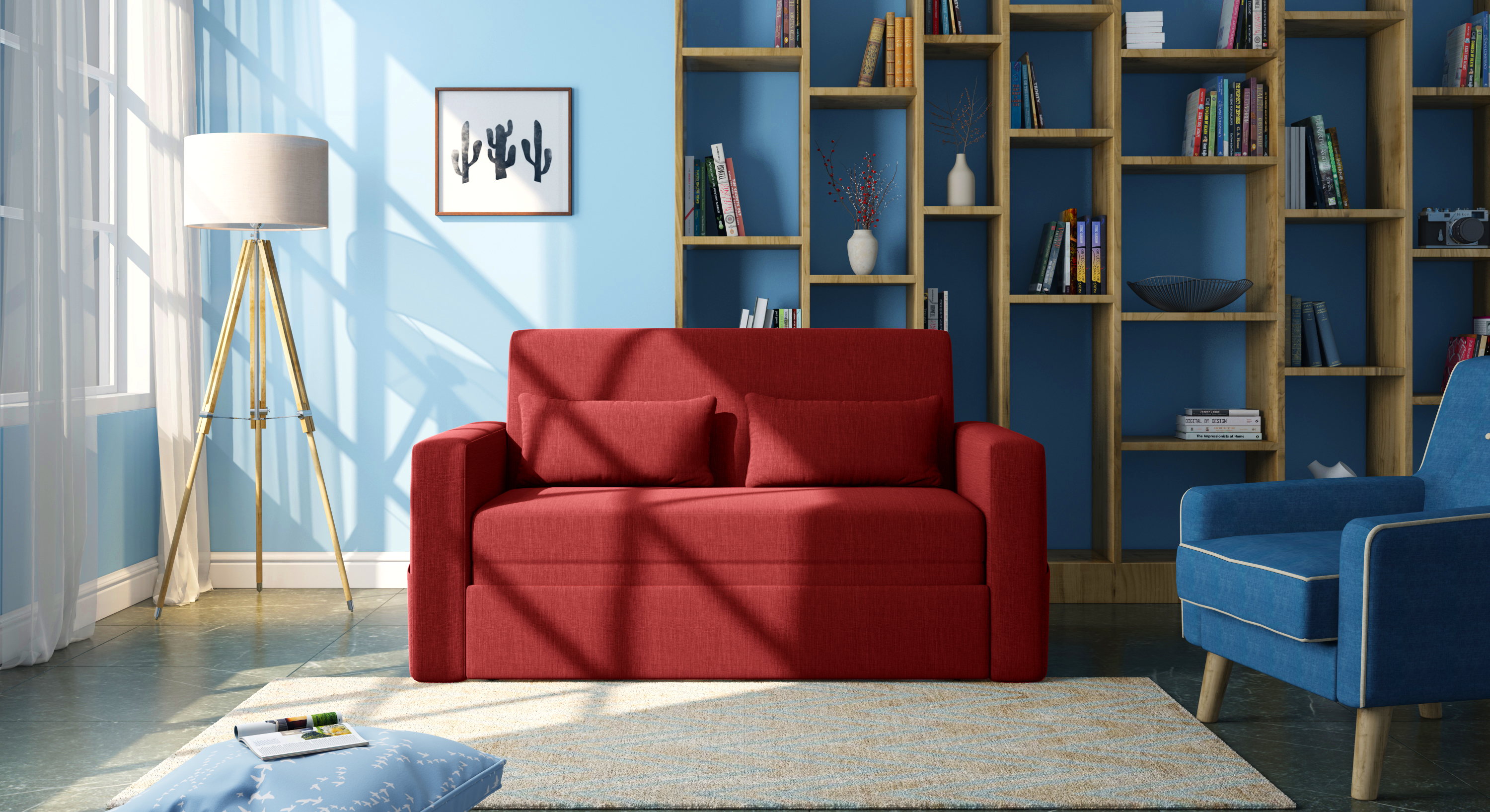 Camden Compact Sofa Cum Bed (Salsa Red) by Urban Ladder