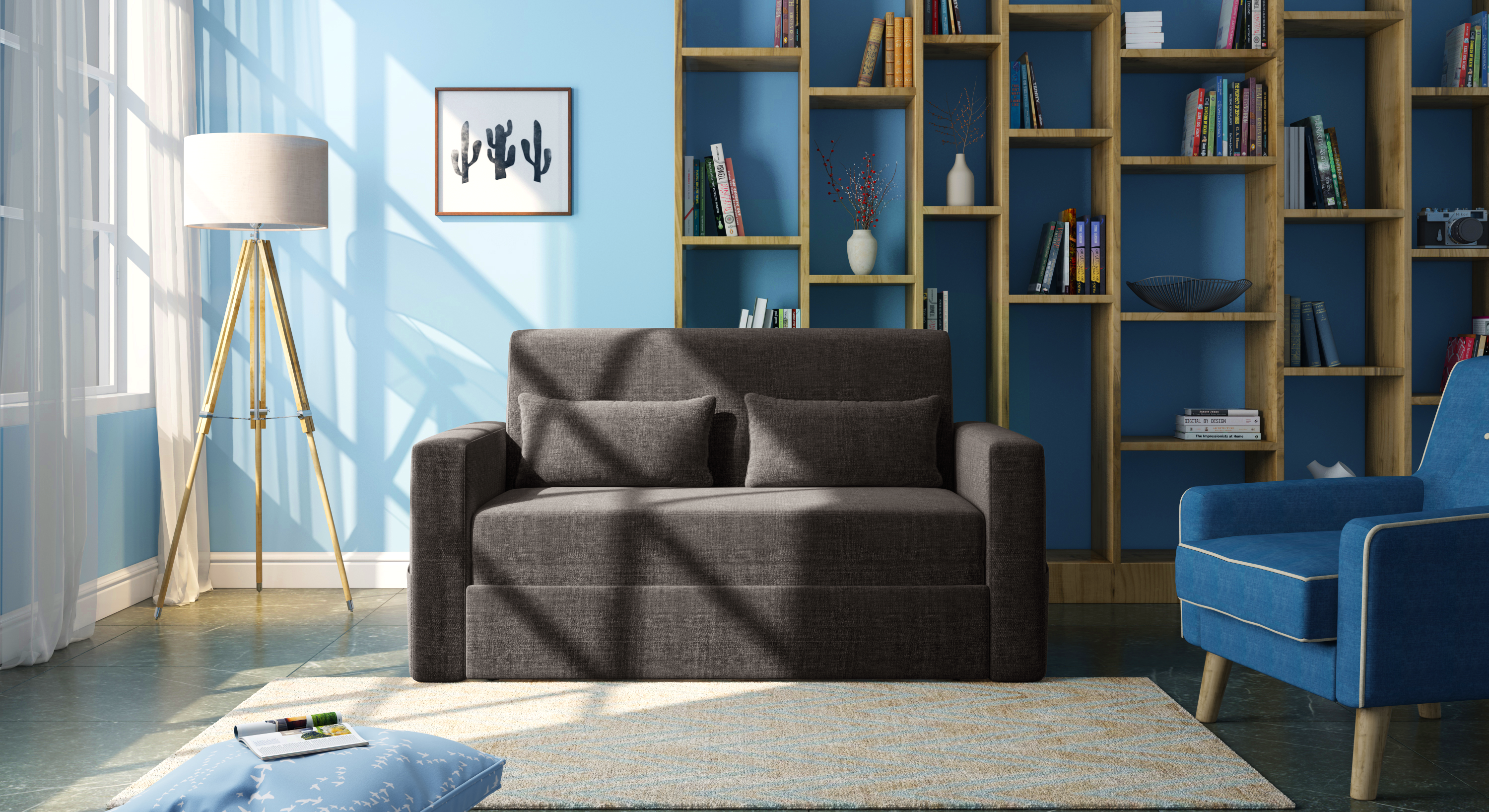 Camden Compact Sofa Cum Bed (Smoke Grey) by Urban Ladder