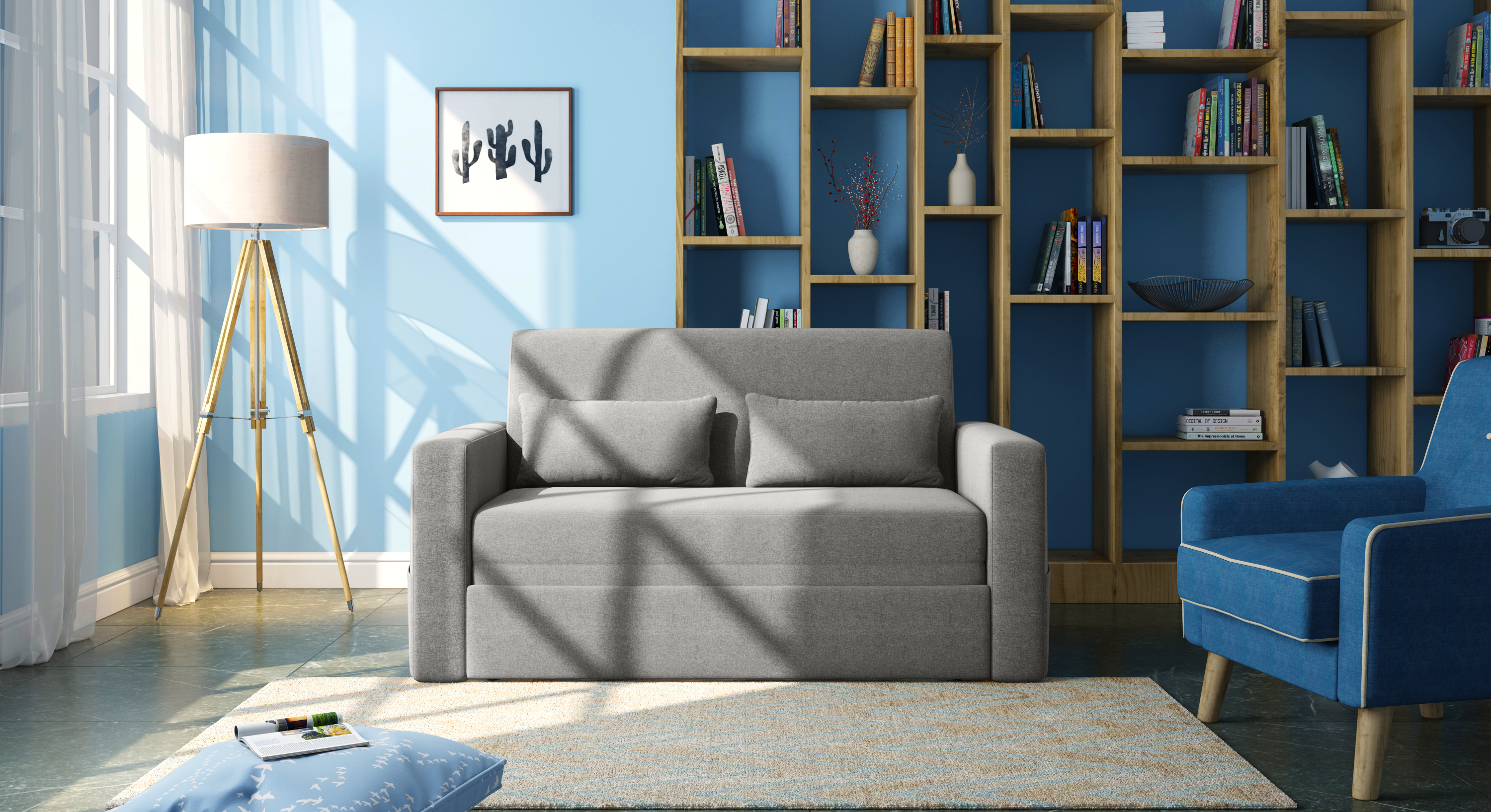 Camden Compact Sofa Cum Bed (Vapour Grey) by Urban Ladder