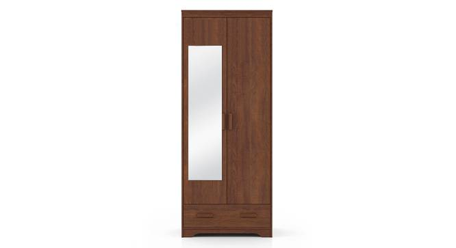 Hilton 2 Door Wardrobe (With Mirror, With Drawer Configuration, 7 Feet Height, Red Oak Finish) by Urban Ladder