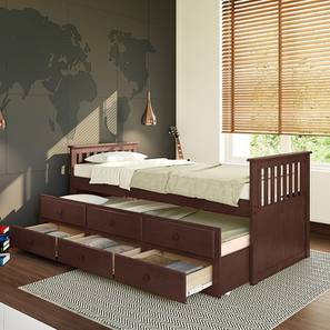 Athens Storage Trundle Bed (Single Bed Size, Dark Walnut Finish, With Trundle, Drawer Storage Type) by Urban Ladder
