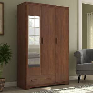 Hilton 3 Door Wardrobe (1 Drawer Configuration, Red Oak Finish) by Urban Ladder