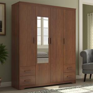 Hilton 4 Door Wardrobe (4 Drawer Configuration, Red Oak Finish) by Urban Ladder