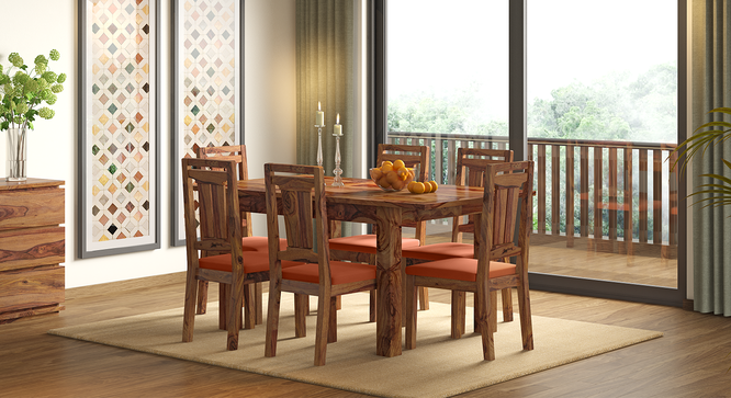 Martha Dining Chairs - Set Of 2 (Teak Finish, Burnt Orange) by Urban Ladder