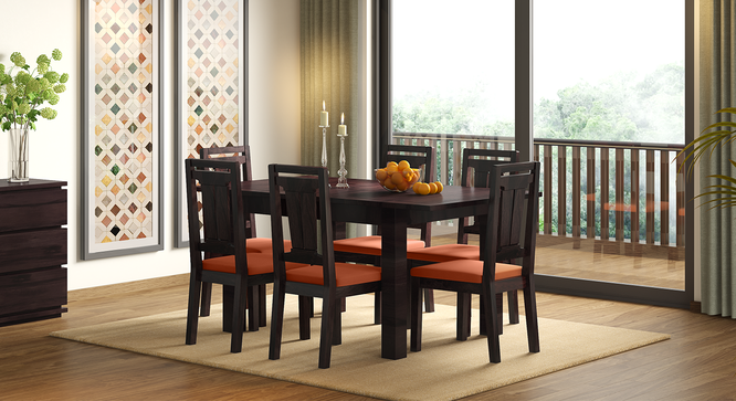 Martha Dining Chairs - Set Of 2 (Mahogany Finish, Burnt Orange) by Urban Ladder - Design 1 Full View - 266033