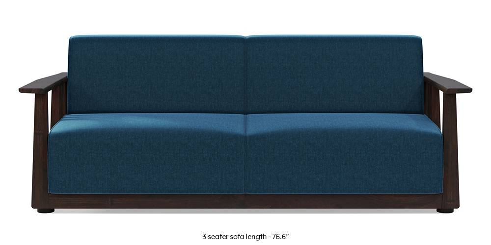 Serra Wooden Sofa - Mahogany Finish (Cobalt Blue) (3-seater Custom Set - Sofas, None Standard Set - Sofas, Cobalt, Fabric Sofa Material, Regular Sofa Size, Soft Cushion Type, Regular Sofa Type) by Urban Ladder