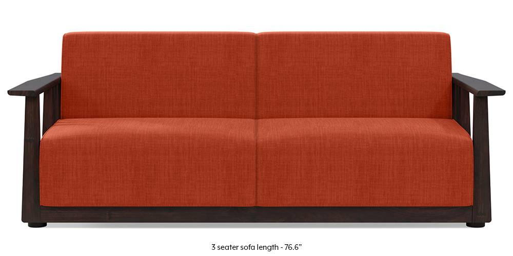 Serra Wooden Sofa - Mahogany Finish (Lava Rust) (2-seater Custom Set - Sofas, None Standard Set - Sofas, Lava, Fabric Sofa Material, Regular Sofa Size, Soft Cushion Type, Regular Sofa Type) by Urban Ladder