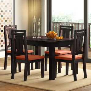 Arabia 4-to-6 Extendable - Martha 4 Seater Dining Table Set (Mahogany Finish, Burnt Orange) by Urban Ladder