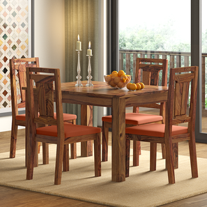 Arabia 4-to-6 Extendable - Martha 4 Seater Dining Table Set (Teak Finish, Burnt Orange) by Urban Ladder