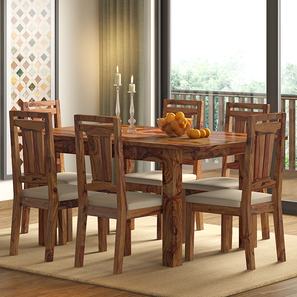 Arabia 4-to-6 Extendable - Martha 6 Seater Dining Table Set (Teak Finish, Wheat Brown) by Urban Ladder
