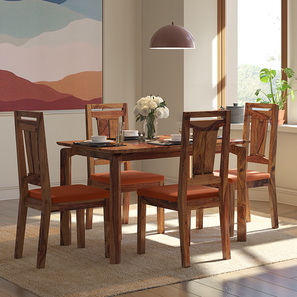 Catria - Martha 4 Seater Dining Table Set (Teak Finish, Burnt Orange) by Urban Ladder