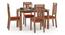 Catria - Martha 4 Seater Dining Table Set (Teak Finish, Burnt Orange) by Urban Ladder