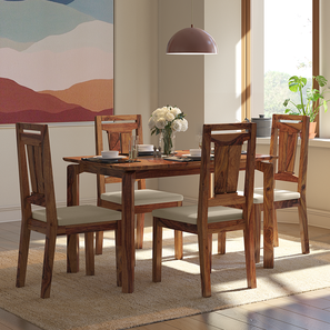 Catria - Martha 4 Seater Dining Table Set (Teak Finish, Wheat Brown) by Urban Ladder