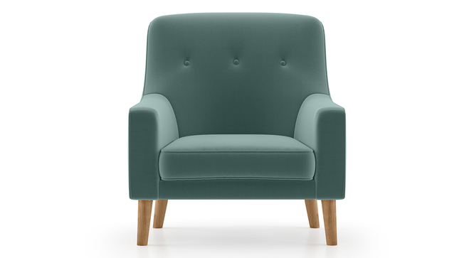 Hagen Lounge Chair (Dusty Turquoise Velvet) by Urban Ladder - Front View Design 1 - 267825