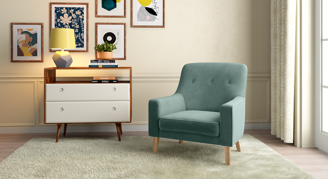 Hagen Lounge Chair (Dusty Turquoise Velvet) by Urban Ladder - Design 1 Full View - 267826
