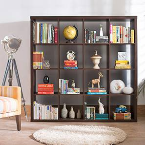 Boeberg Bookshelf (Dark Walnut Finish, 4 x 4 Configuration, Without Inserts, 110 Book Book Capacity) by Urban Ladder