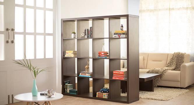 Boeberg Bookshelf (Dark Walnut Finish, 4 x 4 Configuration, Without Inserts, 110 Book Book Capacity) by Urban Ladder