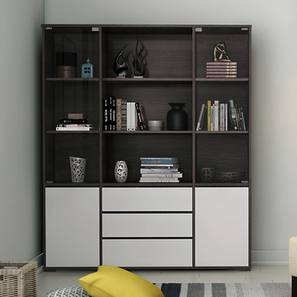 Iwaki Bookshelf With Glass Door (Dark Walnut Finish, 3 Drawer Configuration, 110 Book Book Capacity) by Urban Ladder