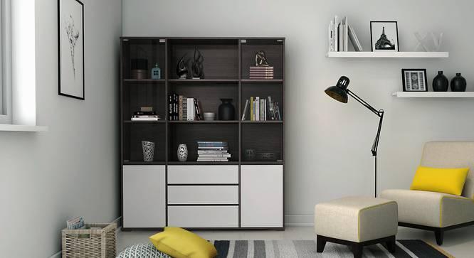 Iwaki Bookshelf With Glass Door (Dark Walnut Finish, 3 Drawer Configuration, 110 Book Book Capacity) by Urban Ladder