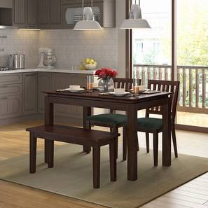 Diner 4 Seater Dining Table Set (With Bench) (Dark Walnut Finish) by Urban Ladder