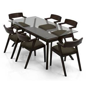 Wesley - Thomson 4 Seater Round Glass Top Dining Table Set (Grey, Dark Walnut Finish) by Urban Ladder