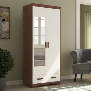 Miller 2 Door Wardrobe (Two-Tone Finish, With Mirror, With Drawer Configuration, 7 Feet Height) by Urban Ladder