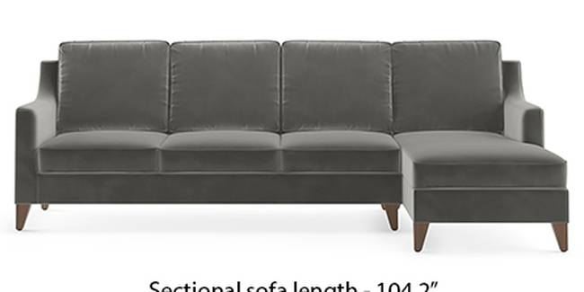 Abbey Sofa (Fabric Sofa Material, Regular Sofa Size, Soft Cushion Type, Sectional Sofa Type, Sectional Master Sofa Component, Ash Grey Velvet)