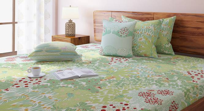 Tree Of Life Bedsheet Set (Green, Double Size, Thicket Pattern) by Urban Ladder