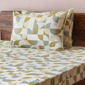 Colour Block Bedsheet Set (Green, Double Size, Curves & Lines  Pattern) by Urban Ladder