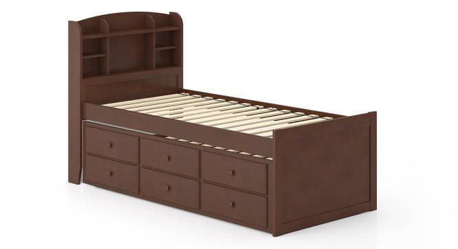 Ateneo Storage Headboard Single Bed with Trundle and Storage (Single Bed Size, Dark Walnut Finish) by Urban Ladder