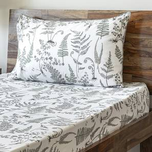 Wilderness Bedsheet Set (Grey, Single Size, Wild Fern Pattern) by Urban Ladder
