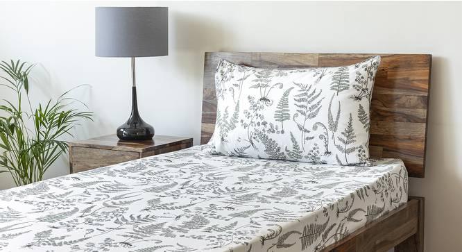 Wilderness Bedsheet Set (Grey, Single Size, Wild Fern Pattern) by Urban Ladder