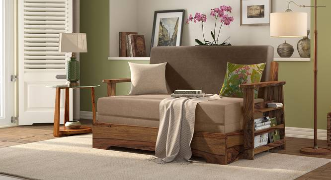 Mahim Compact Sofa Cum Bed (Two Tone Brown, With Storage Arm) by Urban Ladder