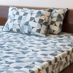 Colour Block Bedsheet Set (Blue, Double Size, Curves & Lines  Pattern) by Urban Ladder