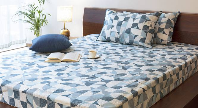 Colour Block Bedsheet Set (Blue, King Size, Curves & Lines  Pattern) by Urban Ladder