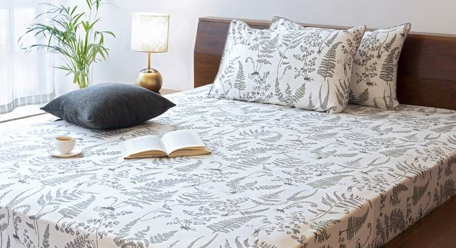 Wilderness Bedsheet Set (Grey, Double Size, Wild Fern Pattern) by Urban Ladder