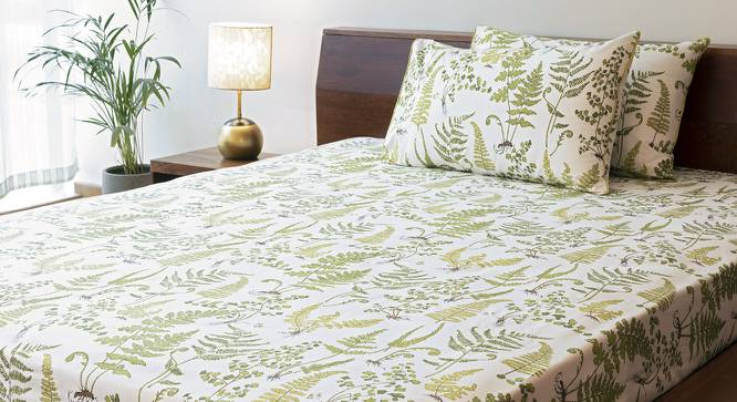 Wilderness Bedsheet Set (Green, Double Size, Wild Fern Pattern) by Urban Ladder