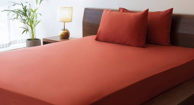 Serena Fitted Bedsheet (Rust Red) by Urban Ladder