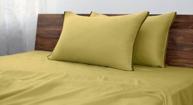 Serena 300 TC Sateen Bedsheet Set (King Size, Solid Antique Moss) by Urban Ladder
