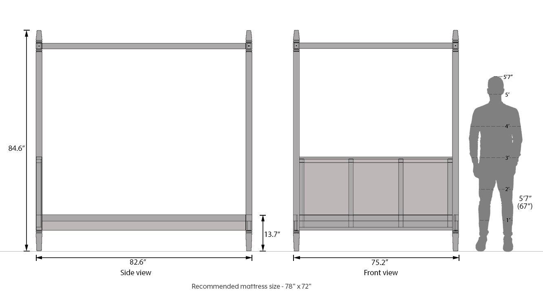 Malabar four poster bed teak finish king bed size dim 188