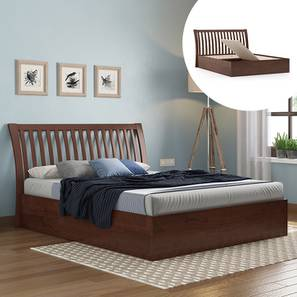 Tanera Storage Bed (King Bed Size, Dark Walnut Finish, Box Storage Type) by Urban Ladder