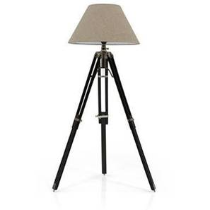 Hubble Tripod Floor Lamp (Black Base Finish, Natural Shade Color, Conical Shade Shape) by Urban Ladder