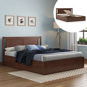 Brandenberg Storage Bed (King Bed Size, Dark Walnut Finish) by Urban Ladder