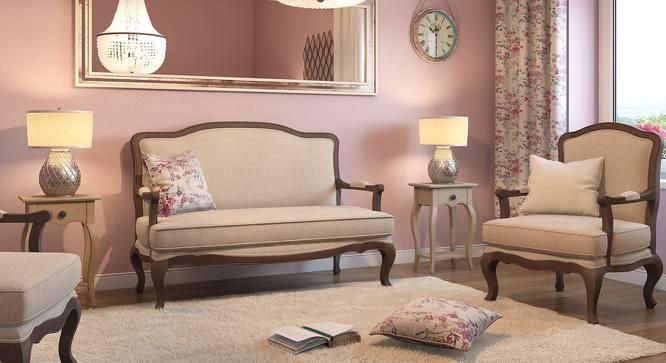 Lyon 2 Seater Sofa (Peony Natural, Brown Oak Finish) by Urban Ladder