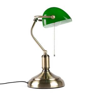 Faral Study Lamp (Antique Brass Base Finish, Barrel Shade Shape, Green Shade Color) by Urban Ladder