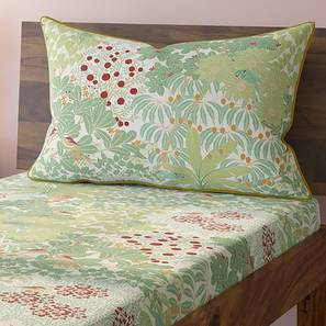 Tree Of Life Bedsheet Set (Green, Single Size, Thicket Pattern) by Urban Ladder