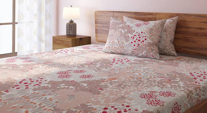Tree Of Life Bedsheet Set (King Size, Peach, Thicket Pattern) by Urban Ladder
