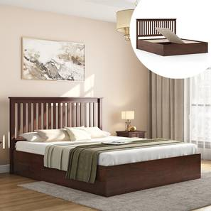 Athens storage bed dark walnut queen lp